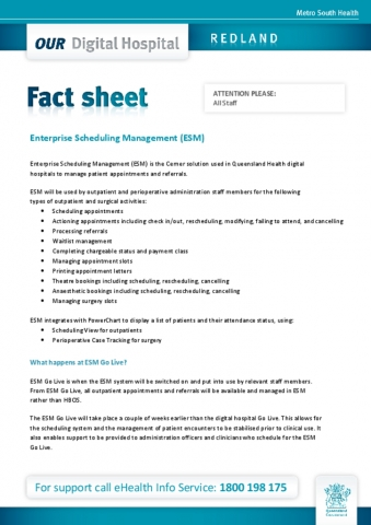 enterprise scheduling management system esm fact sheet our